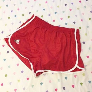 Adidas red athletic shorts